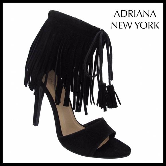 012b05c150018 Adriana New York Shoes | Black Faux Suede Ankle Strap Fringe Trim ...